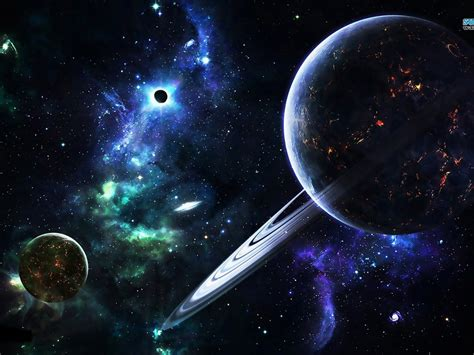 Space Abstract Galaxy Planet Rings Stars Hd Wallpaper 1087