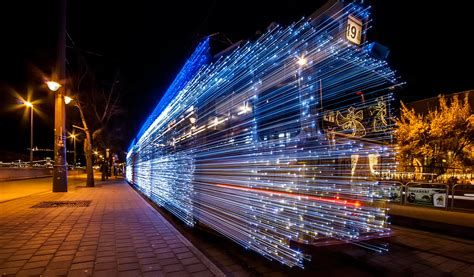 30,000 LED Lights And Long Exposure Turn Budapest Trams